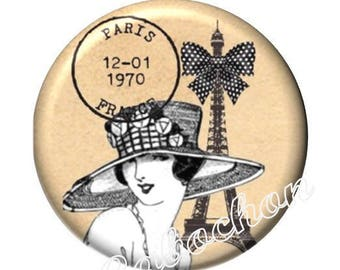 2 cabochons illustrated 16mm domed glass cabochon image mode Paris chic Eiffel Tower