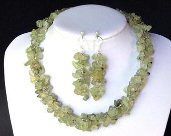 Set of Green Garnet Chip Beads Chained Dangle NSGG1441
