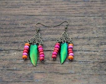 Earrings with beetle wings Elytra (blue, orange, Brown, green), spiral / Handmade earrings with Elytra beetle wings, unique