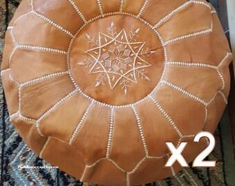 Set of 2 Moroccan Poufs, Ottoman footstools pouf, Leather pouf, Luxury poufs, Moroccan home decor, Boho Decor.