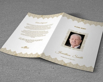 Printable Funeral Program Template | Obituary Program Template | Photoshop & MS Word Template | Instant Download | T-274