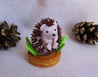 Hedgehog figurine polymer clay Sculpture hedgehog Miniature toy OOAK hedgehog toy Miniature animal gift Home decor Father day gift