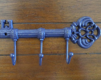 Purple Key Holder / Skeleton Key Rack /Cast Iron wall hook/Wall Decor/Kitchen/Foyer/Entrance