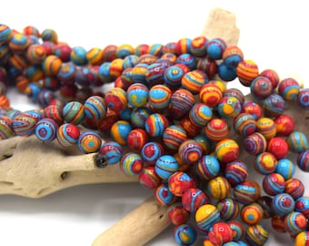 Beads (agate class b) multicolor malachite 6mm round