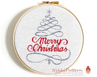 Christmas cross stitch pattern Christmas tree Merry Christmas Ornaments cross stitch Counted cross stitch Modern cross stitch PDF sampler