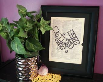 Hubble Space Telescope Vintage Dictionary Print, Space Gifts, Science Gifts, Space Art, Science Art, Space Decor, Satellite