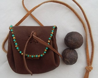 Moqui marble pair and leather pouch, handmade