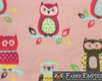 """Fleece Printed Fabric COUPLE OWLS PINK / 58"""" Wide / Sold by the yard / N-1991"""