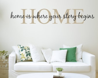 Home is where your story begins Vinyl Wall Sticker - Family Quote, Living Room Decor, Housewarming Gift, Wall Words, New Home Gift for her