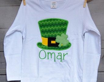 Personalized St. Patrick's Day Shamrock Hat Applique Shirt or Bodysuit Girl or Boy
