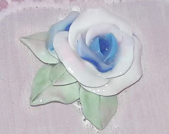 Handmade Shabby Chic Single Blue Rose Cabochon Furniture Applique or Brooch  - Sweet and Handmade
