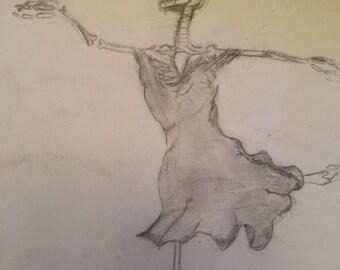 Dancing Skeleton Pencil drawing- print