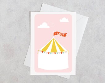 Circus Printable Thank You Card, Instant Download Thank You Card, Circus Party, Big Top Birthday Party