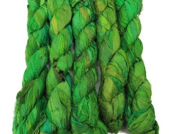 New! Sari Silk Ribbon, 100g , Spinach