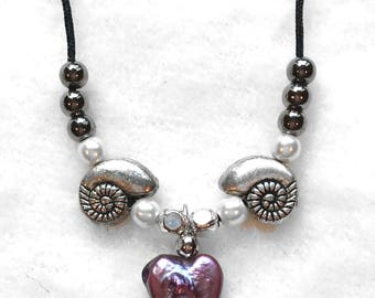 Purple heart and shells necklace