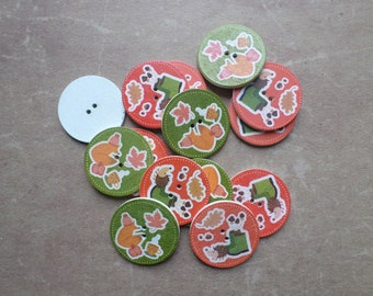 15 large animals Hedgehog Fox 3.22 fall themed wood buttons cm