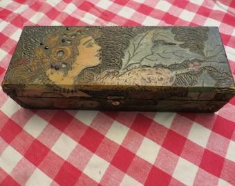 Pyrography Burnt Wood Trinket Box  w/ free ship