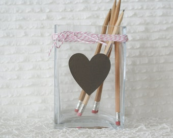 Set of 12 - Small Heart Chalkboard Vinyl Labels - Wedding and Party Chalk Labels - 2.25 inches by 2.25 inches - Black Vinyl Stickers