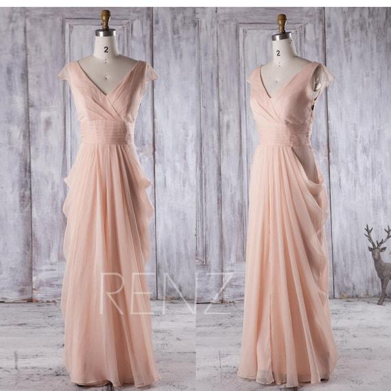 Bridesmaid Dress Peach Chiffon DressCap Sleeve Maxi