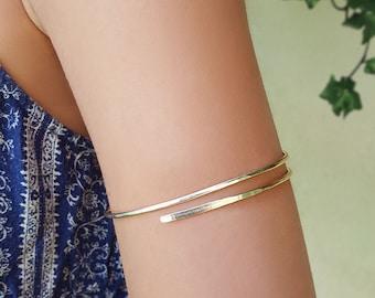 Arm cuff bracelet, Hammered gold bracelet, Gold bangles 14k, Upper arm bracelet, Arm cuff gold, Upper arm cuff, Upper arm band