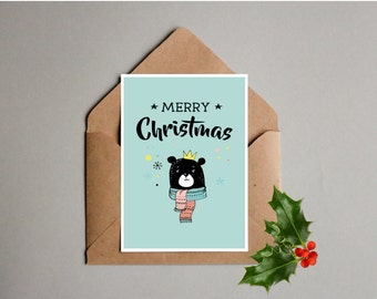 Printable Christmas Card, Bear in scarf, 5x7 card, Merry Christmas, Instant download, Holiday card