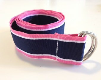 Preppy Grosgrain Stripe Ribbon Belt Silver D Ring 1.5 Inches Wide Classic Navy Blue and Pink - Choose  Size