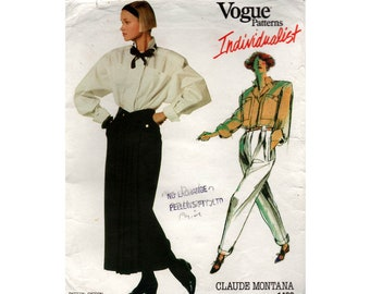 Vogue Individualist 1492 MONTANA Womens Shirt Skirt High Waisted Pants 80s Vintage Sewing Pattern Size 16 Bust 38 Inches UNCUT Factory Folds