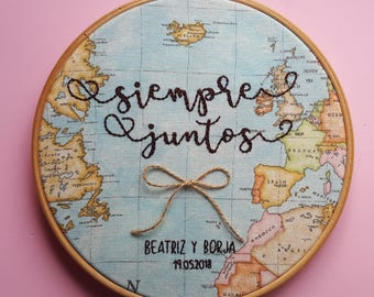 "Embroidery wedding hoop ""mapamundi"""