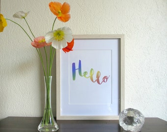 Hello | Wall Quote | Digital Print | Downloadable Print | Printable Art | Quote | Rainbow | Calligraphy Print | Typography Quote