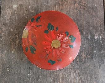 Vintage Japanese Red Papier Maché Trinket Box / Jewelry Box
