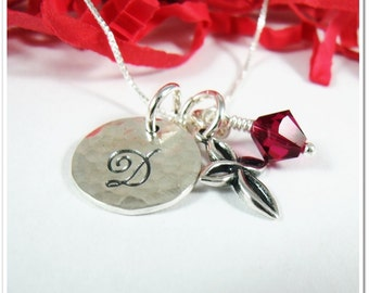 Personalized Initial Necklace with Open Cross Charm and Birthstone - Hand Stamped Necklace - Sterling Silver