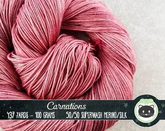Pink Hand Dyed Yarn, Sock Yarn, Merino Wool Yarn, Fingering Yarn, Tonal Yarn, Silk Yarn, SWM, Heirloom Luxe, Carnations, pink yarn, mauve
