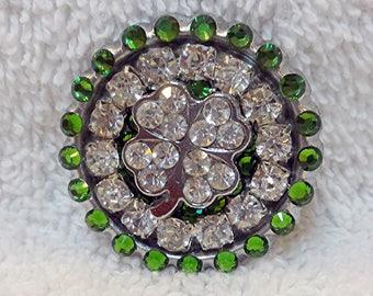 Shamrock Pin, Swarovski Rhinestone St. Patrick's Day Four Leaf Clover, Luck of the Irish Gift