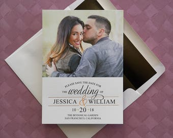 Foil Ampersand Save The Date Cards - Foil highlights,gold,silver,rose gold,Photo,engagement, Wedding Announcements - AA6608