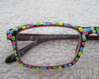 Reading glasses, hand painted, multi-color, confetti, birthday readers, colorful eyewear, 1.75 retro, painted cheaters, unique readers