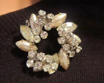 STUNNING Vintage Pearl and Rhinestone Demi Parure (Earrings in Second Picture)-Brooch & Earrings