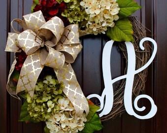 Hydrangea wreath~Fall wreath~front door wreath~wreath with monogram letter~monogram wreath~door wreath~summer wreath