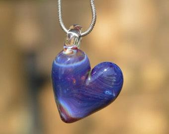 Heart Necklace Charm - Glass Heart Charm - Heart Pendant - Heart Necklace Pendant - Glass Heart Pendant - Purple