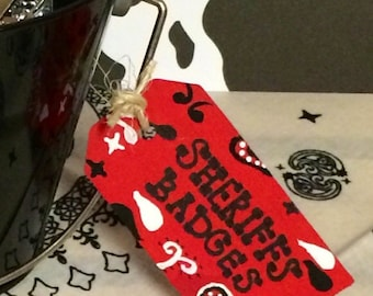 Hand Painted Western Tags (Set of 2)