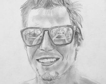 "Original Artwork, Pencil on Paper, 12""x9"", ""Kevin"""