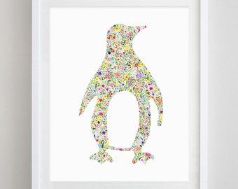 Penguin Floral Watercolor Art Print