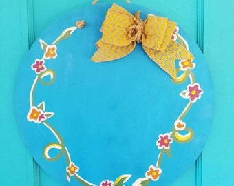 Wooden Flower Circle Doorhanger