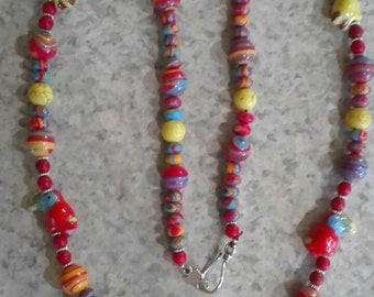 CLEARANCE * FT763 Tucan Multicolor Rainbow Stone Necklace