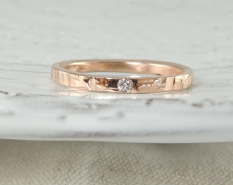 14k Rose Gold Wedding Band with Conflict Free Diamond
