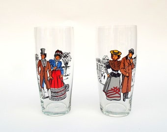 Two Retro Tumblers, Decorative Fashion Glassware,  Old  Costumes  Drinking Glasses, Couples Drinkware, Decorated Water Glasses x 2