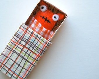 Orange Matchbox Monster with play accessories - Kawaii - Stocking Stuffer - Tween Gift - Kids Gift - Plush - Monsters