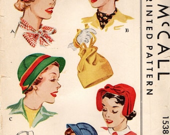 McCall 1538 HATS And BAG 1950 Original Pattern Not a PDF or Reproduction