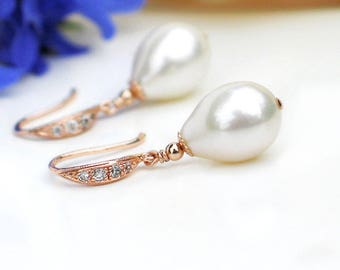 White Freshwater Teardrop Pearl Earrings | CZ Pavé Rose Gold Vermeil Dangles | Bridal Pearl Jewelry | Birthday | Drop Pearls | Made to Order