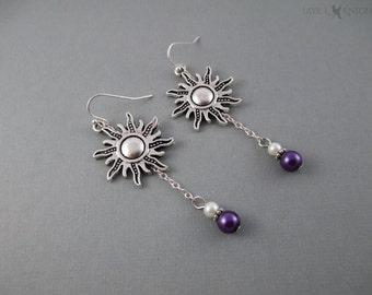 Tangled Sun Charm Earrings - Rapunzel - Silver Charms