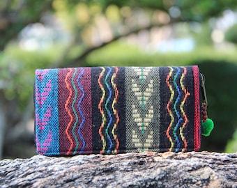 Colorful Geometric Tribal Womens Wallet  Nepali Hippie wallet   Purse   Chevron Vegan Wallet   Vegan Purse    Fabric Wallet   Clutch Purse